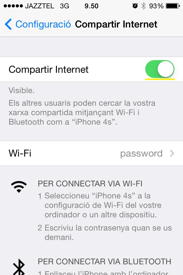 Compartir Internet iPhone 3